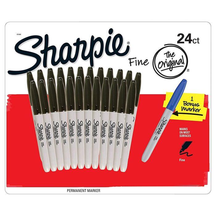 Box mit 24 Sharpie Fine Point schwarze Marker - Plus 1 Blauer Marker
